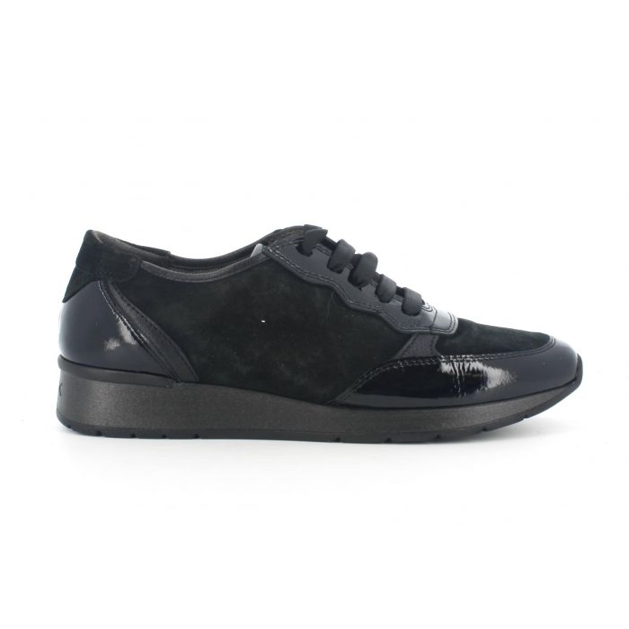 Sneakers melluso allacciata hr25024 in vernice nero con sottopiede in memory foam