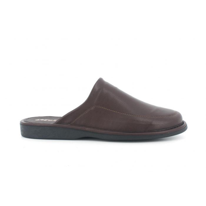 Pantofola invernale in pelle bordò pu300 con sottopiede in memory foam