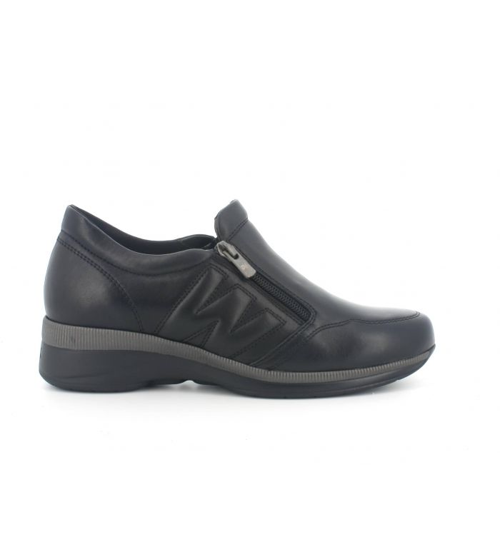 Sneakers r25101 in pelle nera con zip e sottopiede in memory foam