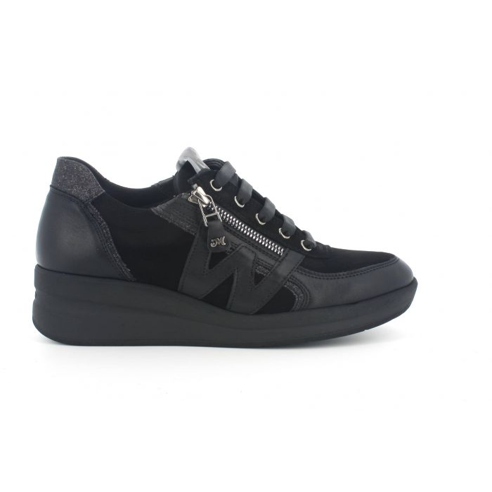 Sneakers r25623 in pelle nera con zip lacci  sottopiede in memory foam
