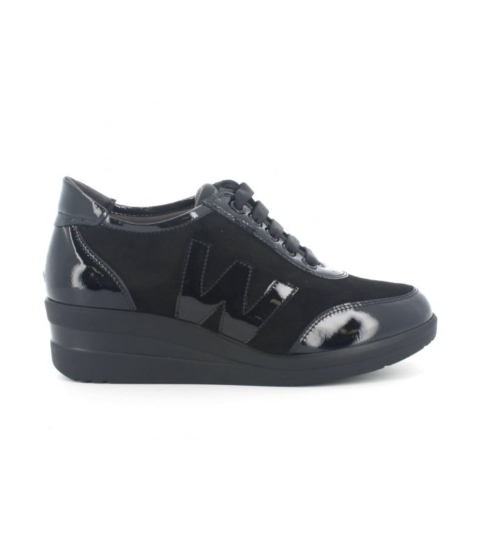 Sneakers melluso r25843gd in vernice nero con sottopiede in memory foam