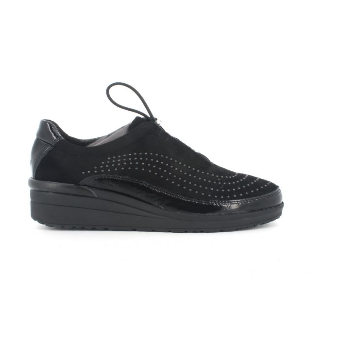 Sneakers melluso allacciata con elastico k55408 in camoscio nero con plantare estraibile