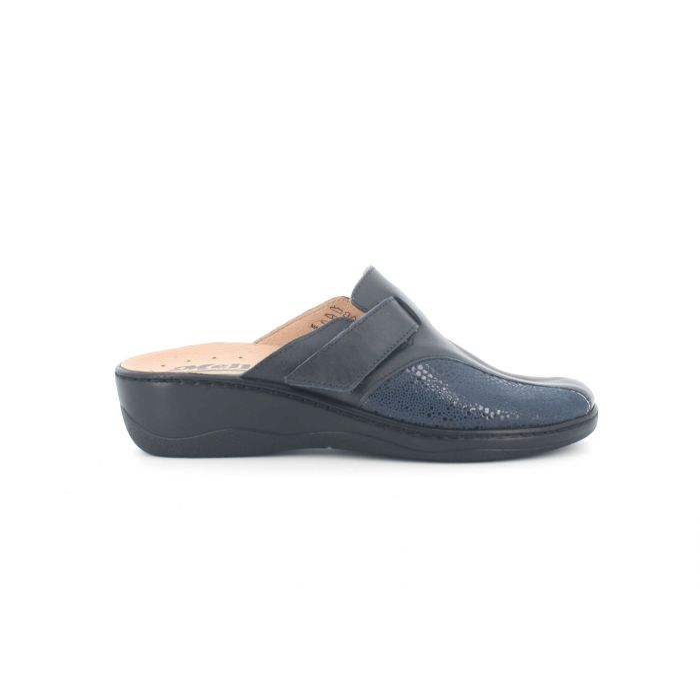 Pantofola invernale in pelle blu pd702x modello comfort plantare estraibile