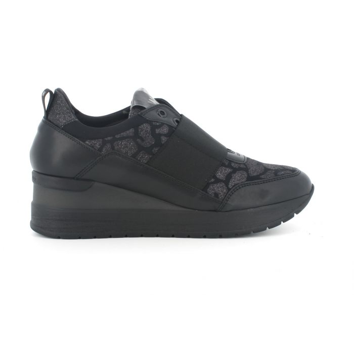 Sneakers melluso con elastico r25533 in pelle nero con plantare estraibile
